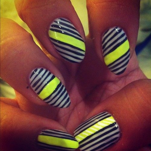 Two Week Nail Polish: Deeznails: Neon And Lines With Gel Polish. Lasts Up To 2