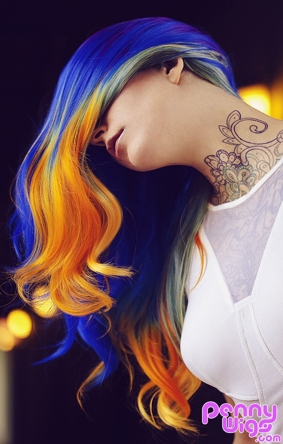 Velocity is our lovely new ombre multicolored full wig uc model