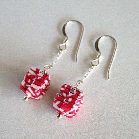 Rosa curto tecido de papel Brincos / Papel Jóias / por juliedyecraft