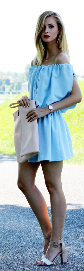 Light Blue Off Shoulder Dress by Beauty - Fashion - Shopping SHOP @ CollectiveStyles.com