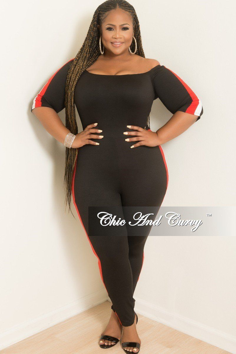 a91a9e2f448 New Plus Size Off the Shoulder Jumpsuit in Black with red and White ...