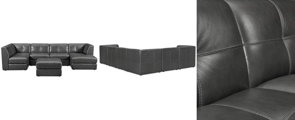 Enjoyable Fabrina 6 Pc Leather Modular With Chaise Ottoman Ncnpc Chair Design For Home Ncnpcorg