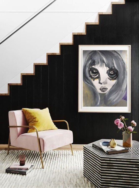 Watercolor print gray wall art woman portrait poster digital daughter  living  also rh pinterest