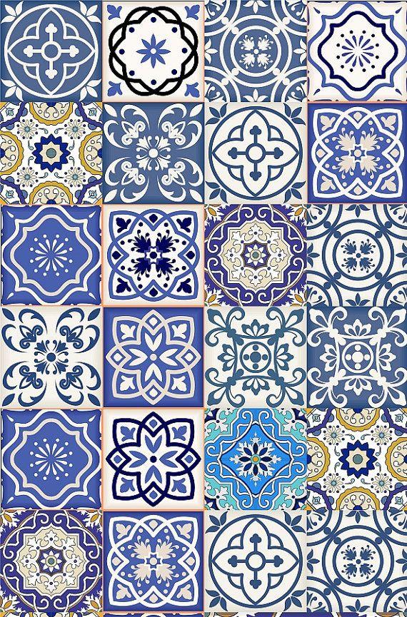 set of 24 tiles decals tiles stickers mixed tiles for walls kitchen bathroom fliesenaufkleber. Black Bedroom Furniture Sets. Home Design Ideas