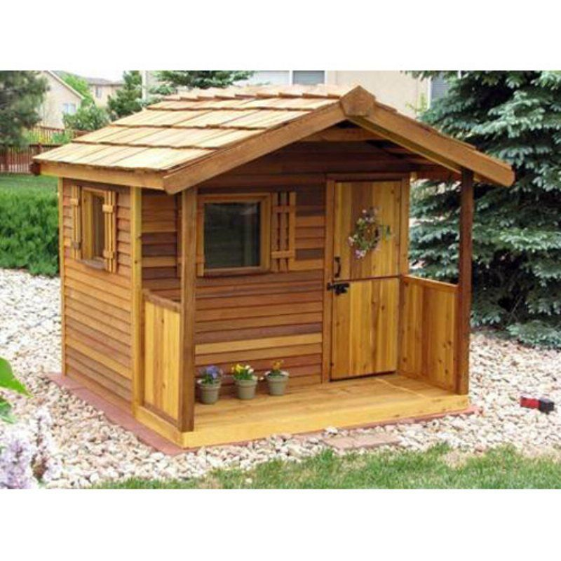 Cedar shed log cabin cedar playhouse outdoor playhouses for Outside garden sheds