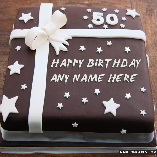 Square Chocolate Cake Of 50th Birthday With Name Events