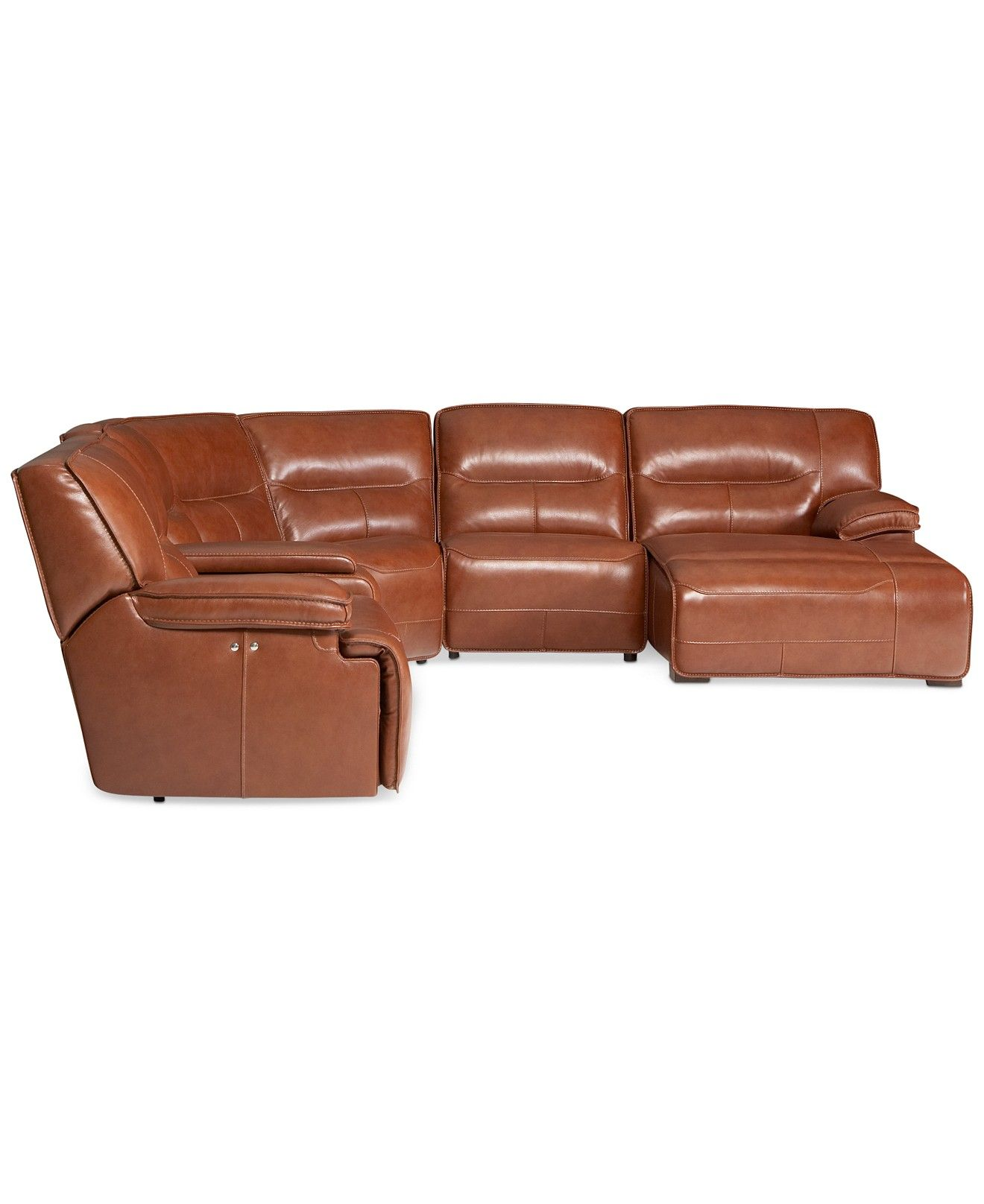Beckett 6 pc Leather Sectional Sofa with Chaise and 1 Power