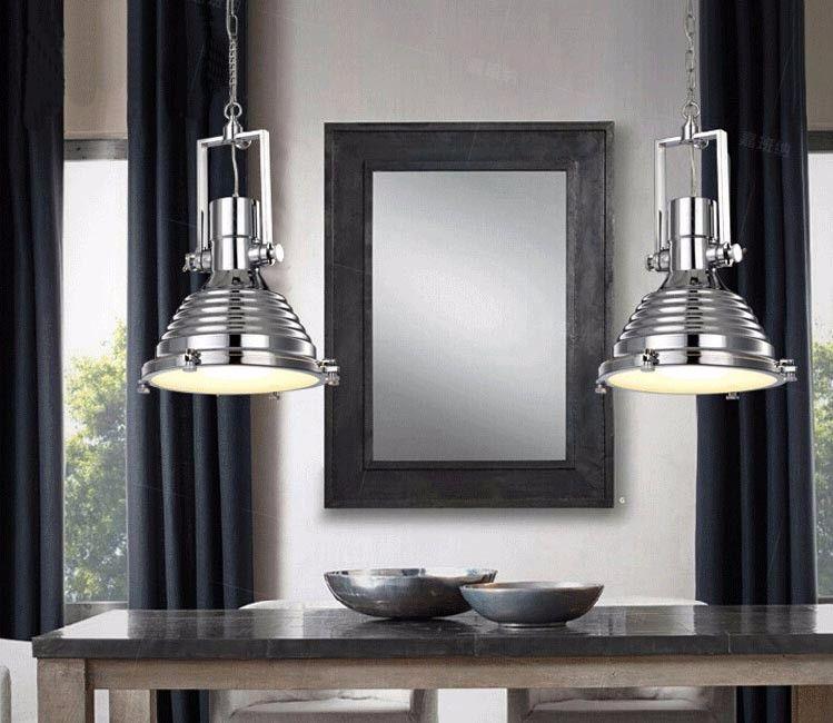 Photo of loft retro industrial electroplate chrome black brass decorative edison pendant lamp chandeli …
