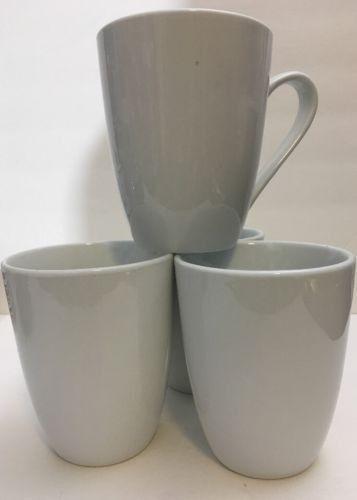 Roscher Bone China Plain Solid White Tea Cups 4 pcs. Coffee Mugs ...