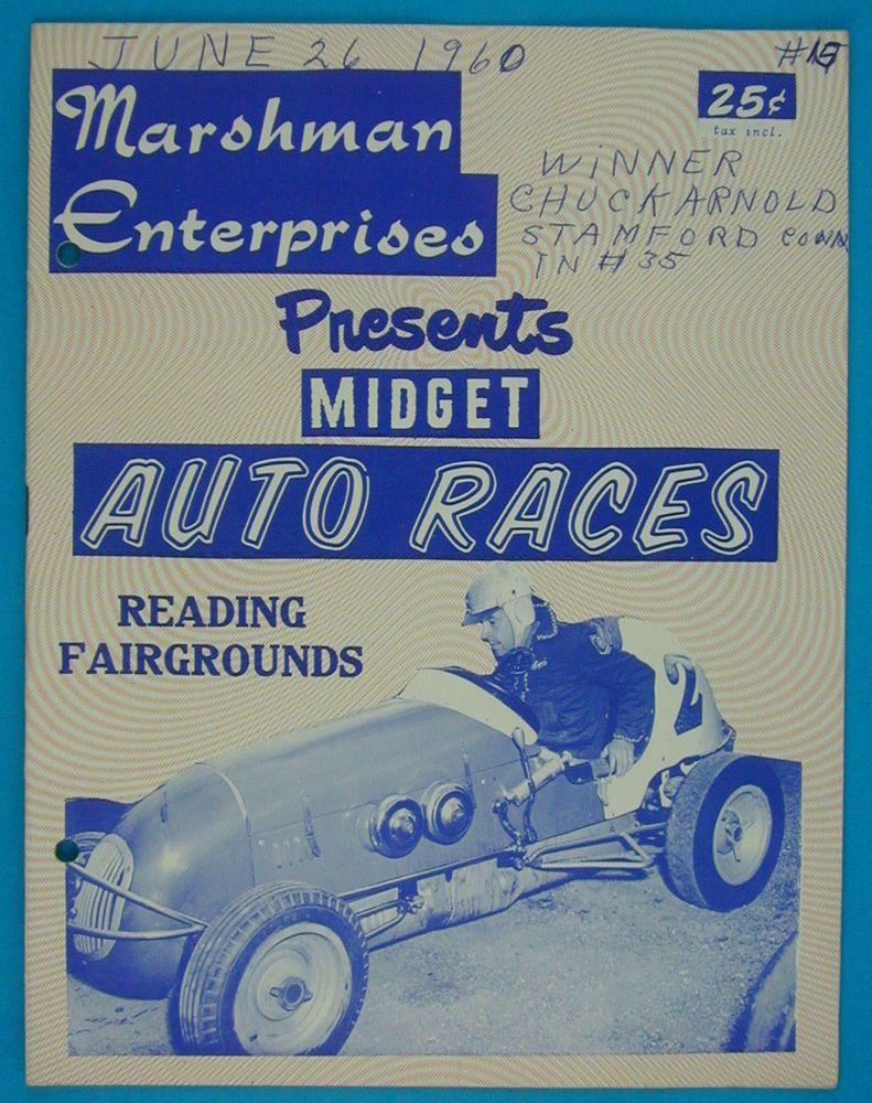 vintage 1960 ardc usac midget car racing program reading