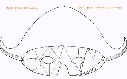 Máscara Carnaval adultos arlequín, plantilla sencilla para colorear.