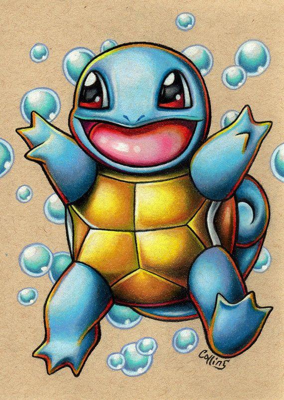 Squirtle Pokemon Original Prismacolor Pencil By Bryancollins Found