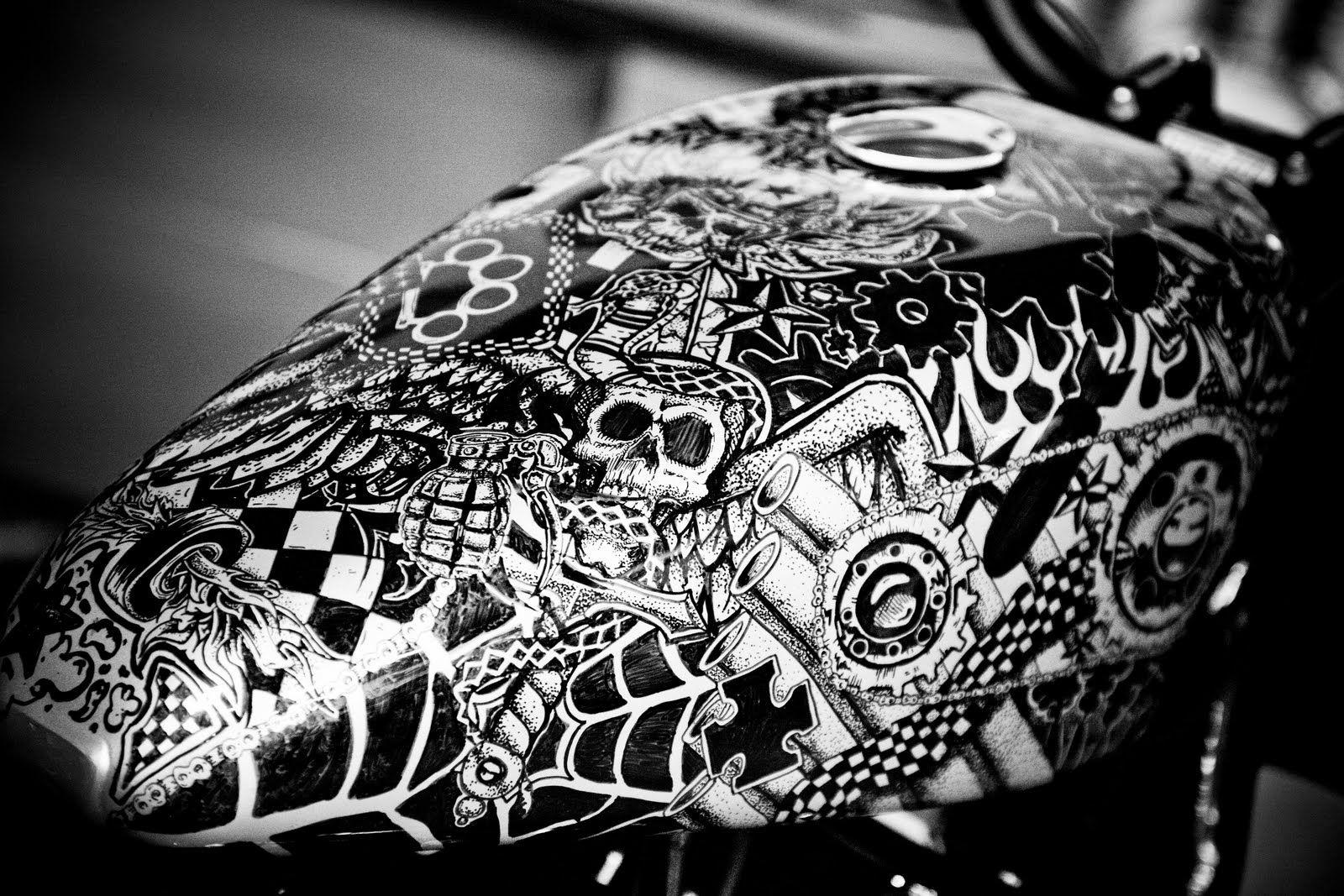 Custom Paint Black White Motorcycle Tank - Google