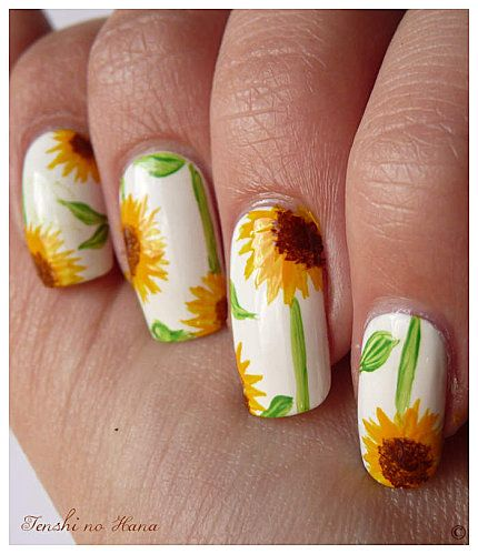 Pin By Karen Clymer On Nails Sunflower Nail Art Sunflower Nails Nail Art