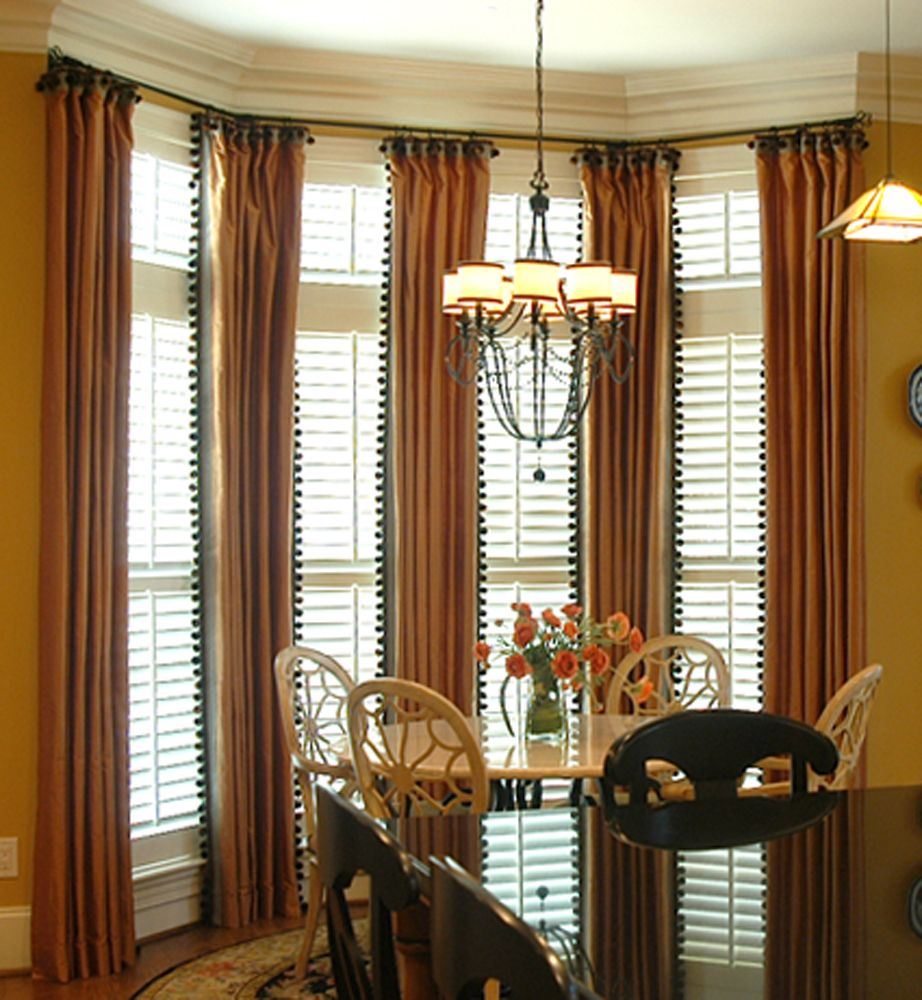 Plantation Shutters And Drapes   Dining Room Bay