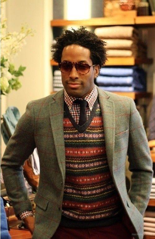 Men's Grey Plaid Blazer, Multi colored Fair Isle V-neck Sweater ...