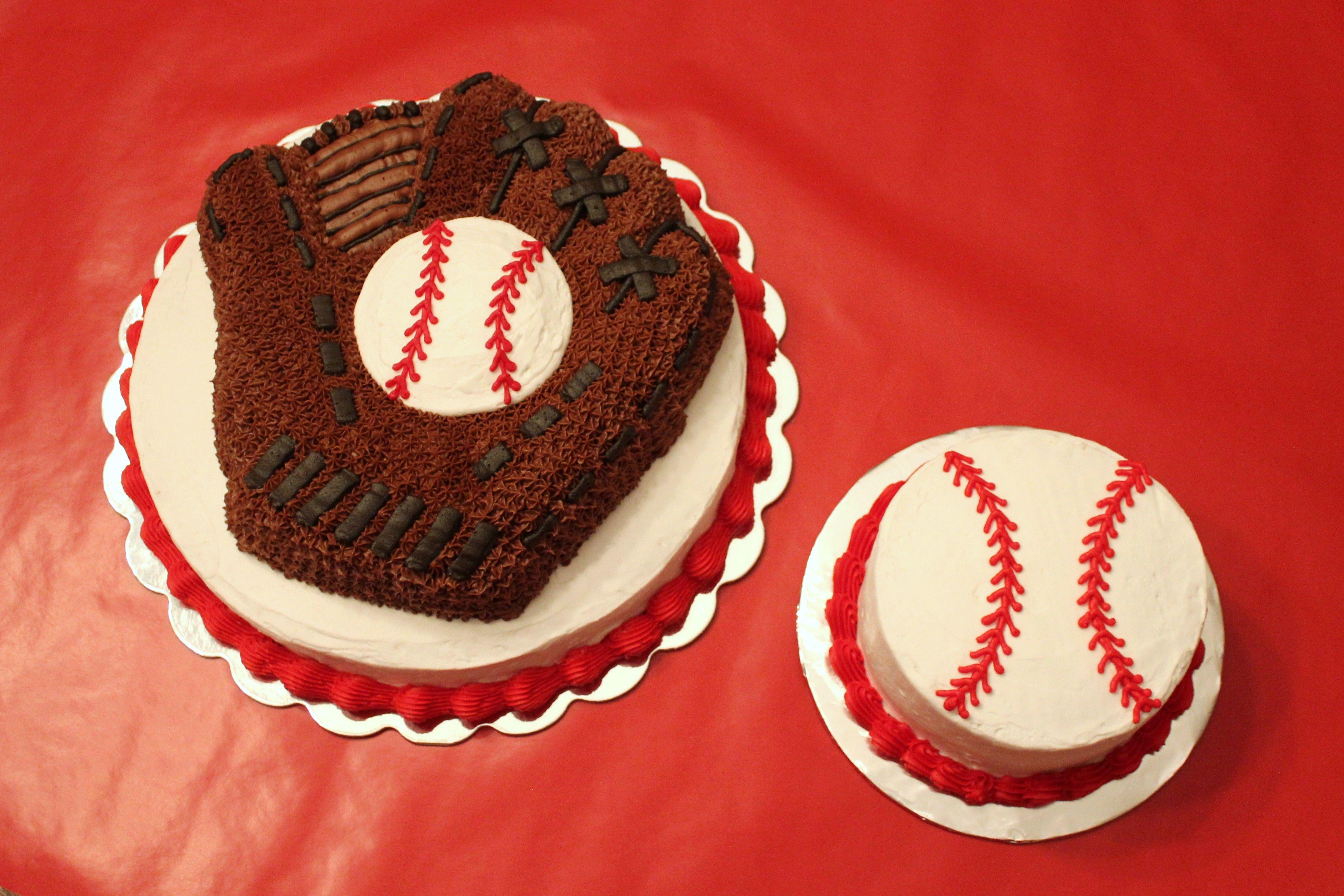 Baseball Glove birthday cake and Baseball smash cake 12 in round