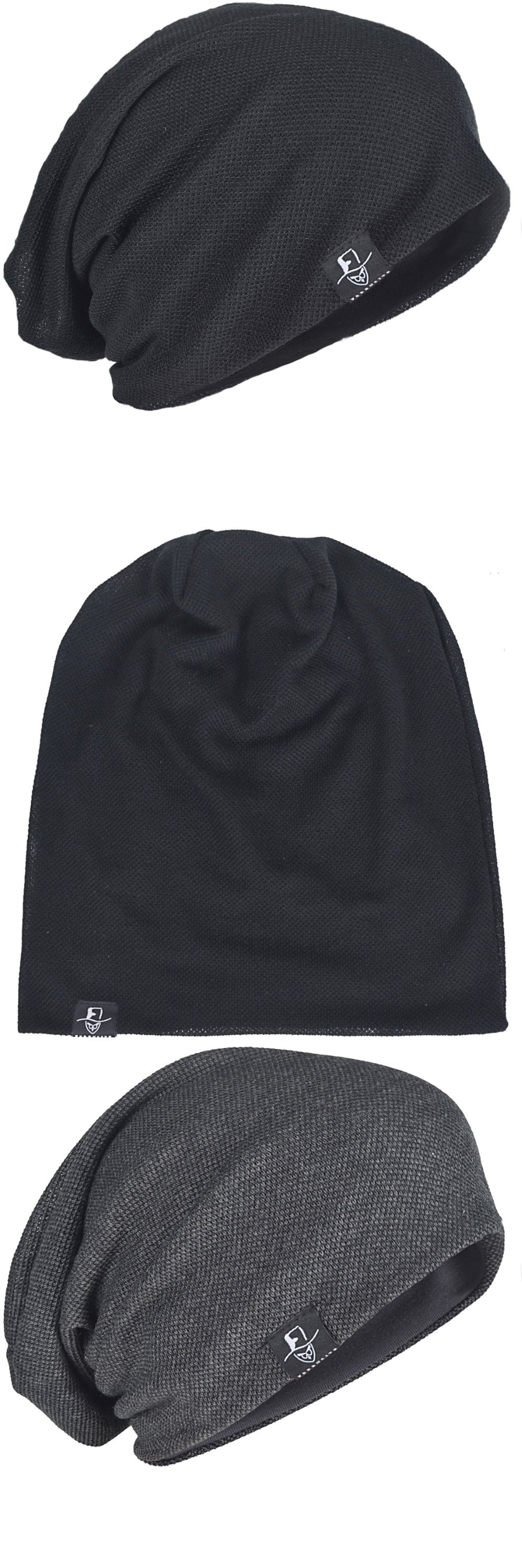 b9485a62a87 Men Summer Slouch Thin Beanie Large Hat Skullcap Cool Daily Cap FORBUSITE