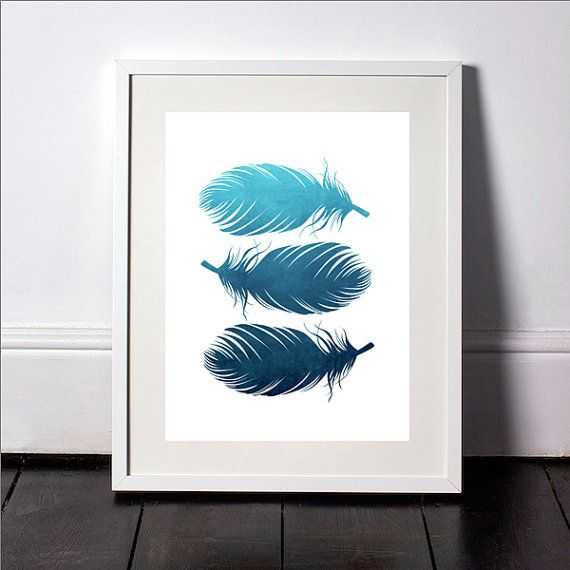 Watercolor Feather Print Blue Feather Print Blue by SvetaNPrints