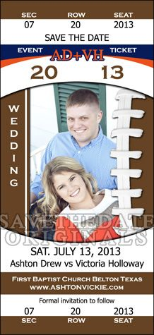 A save the date ticket magnet design based on the Auburn University Tigers football team. #sports #wedding