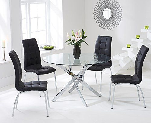 Texas 110cm Glass Round Dining Table and Black Chairs Set in 2018