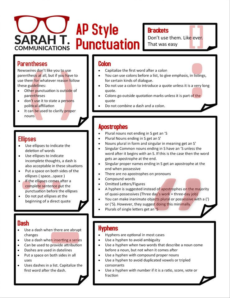 AP Style Punctuation Cheat Sheet About me blog