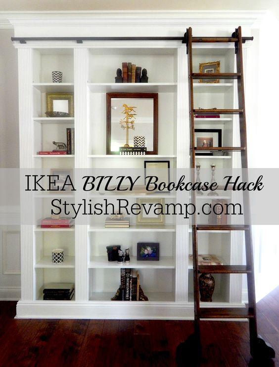 ikea billy bookcase hack b cherregale bibliothek und wohnzimmer. Black Bedroom Furniture Sets. Home Design Ideas