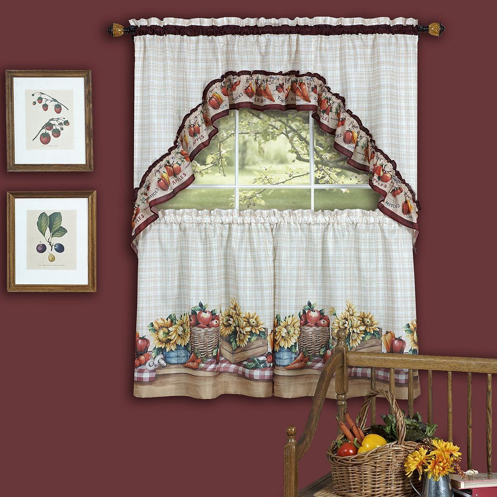 timeless farmer's market 3-piece swag tier kitchen window curtain