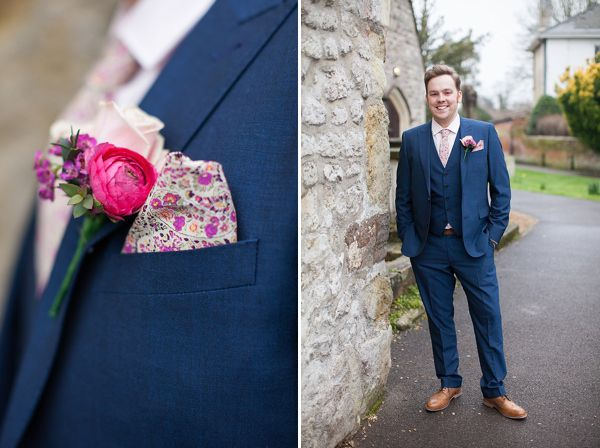 Red Shoes And Ranunculus Peonies And Pronovias Blue Suit