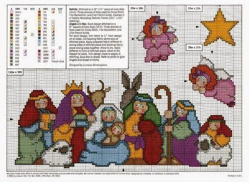 schema punto croce presepe | Hobby lavori femminili - ricamo - uncinetto - maglia