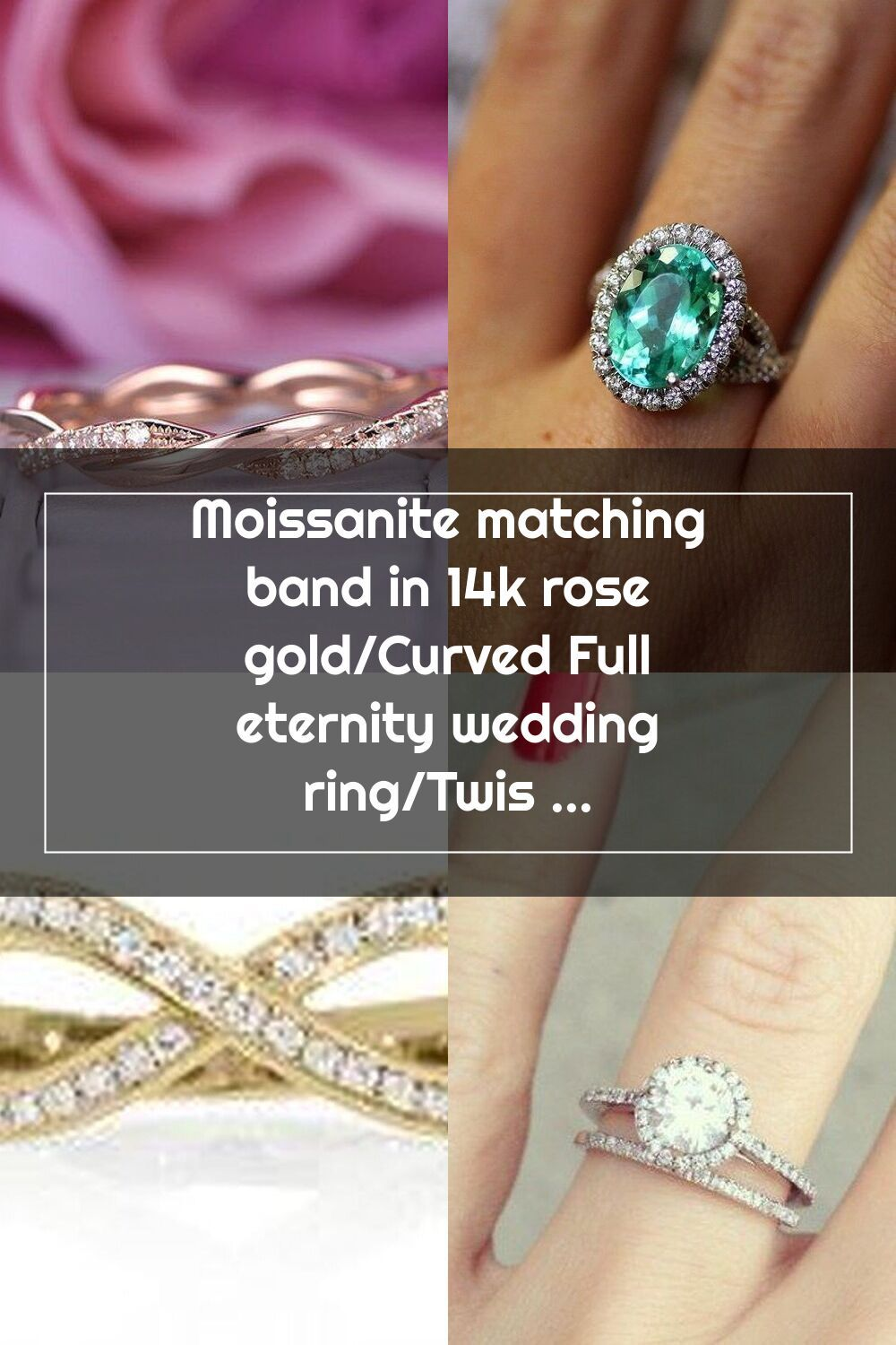 Moissanite matching band in 14k rose gold/Curved Full