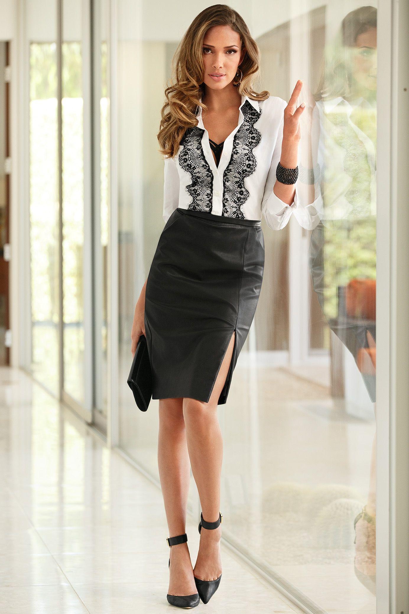 Boston Proper Faux leather pencil skirt #bostonproper | for my ...