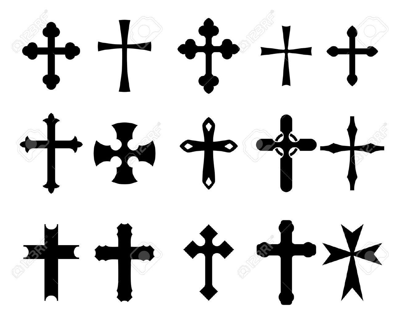 Christian symbol tattoos choice image symbol and sign ideas 11082385 set of religious cross symbols isolated on white cross 11082385 set of religious cross symbols biocorpaavc Images