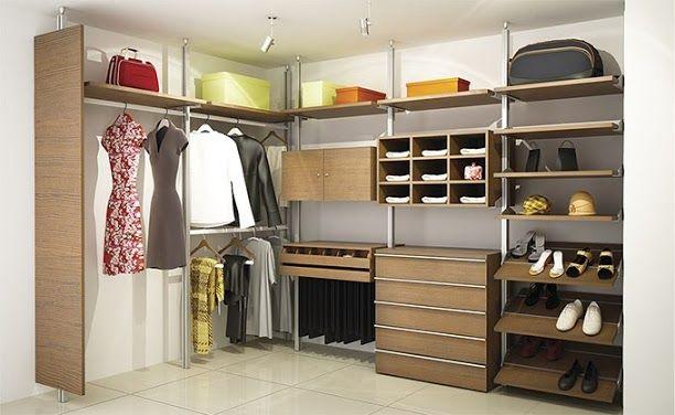 Closet modular status en melamina arena con frentes de chapa de madera de nogal cajonera de 3 for Zapateras para closet
