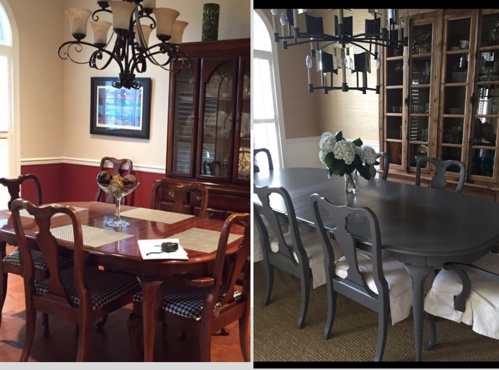 Before And After Dining Room Painted Cherry Queen Anne Table And Chairs Dining Room Furniture Makeover Dining Room Makeover Wood Dining Room