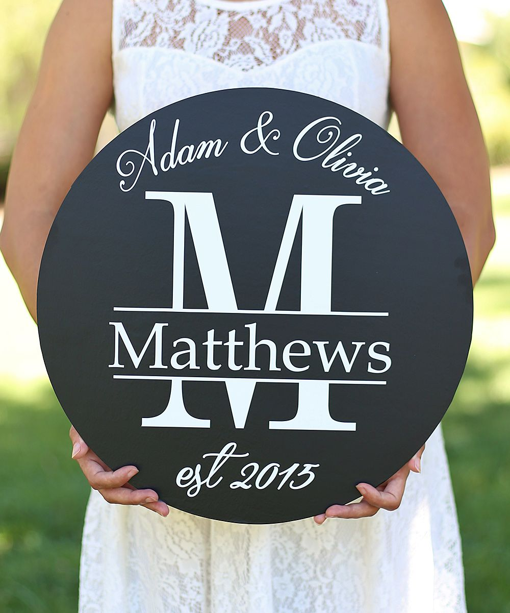 Last name initial circle personalized wall sign