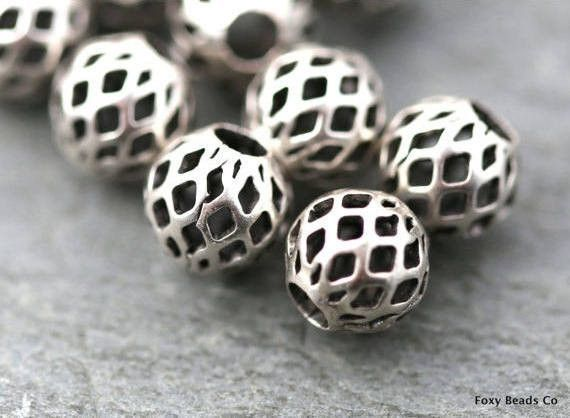 Bead Spacers, Filigree Mini Ball Bead Spacer, Silver Plated Findings, Wholesale Bead Supplies, Brass Jewelry Findings 5 Pieces SFS018