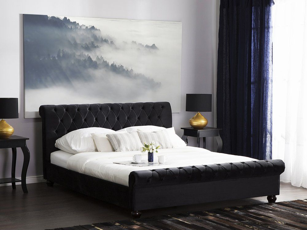 Velvet EU Super King Size Bed Black AVALLON Letti