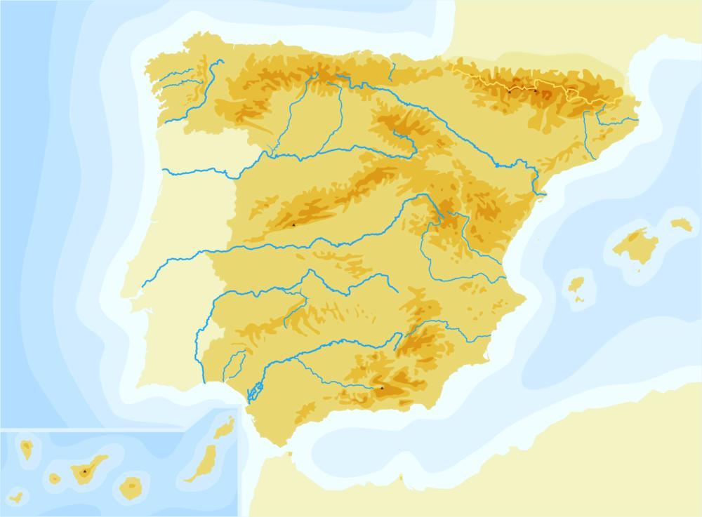 Mapa De España Fisico Mudo.Mapas De Espana Fisicos Politicos Y Mudos Rios De Espana