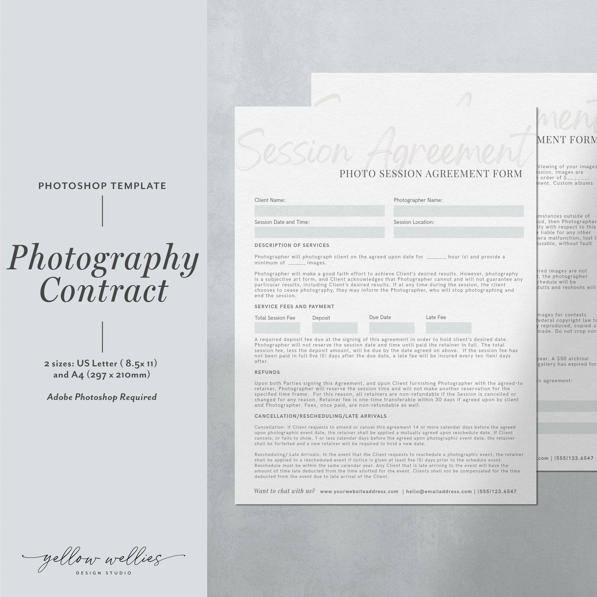 Photoshop Portrait Session Agreement Form Photography Etsy In 2020 Portrait Photoshop Photography Contract Photoshop