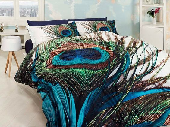 peacock palette contemporary bedroom - Google Search Home decor