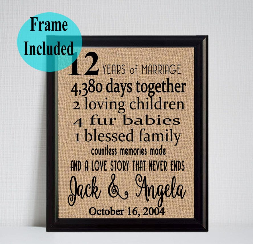 Framed Wedding Anniversary Gift 12th Wedding Anniversary 12