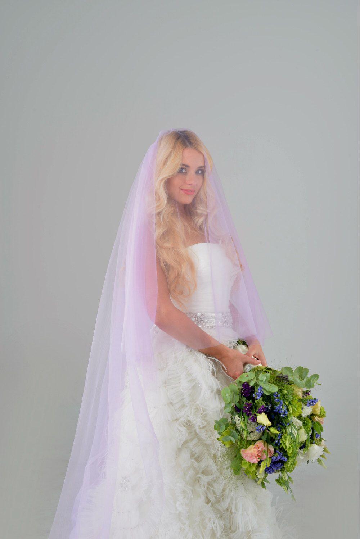 Purple Veil Blusher Veil Colorful Veil Bridal Veil Unique
