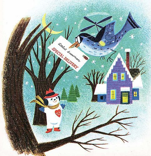 The Littlest Snowman   Story by Charles Tazewell and art by George De Santis.  Originally published in the December 1955 Coronet Magazine.    This is from a 1976 Wonder Books reprint.  My favorite page in the whole book.!  Dig that crazy whirly bird!  Here is the original version from Coronet uploaded by Leifpeng www.flickr.com/photos/leifpeng/68114716