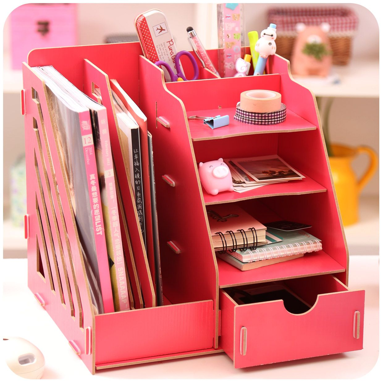 Creative DIY Wooden Desktop File Magazine Holder Book