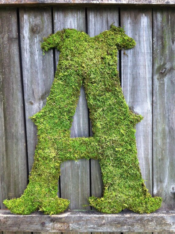 Moss Covered Letters Large Moss Covered Letter A Rustic Weddingvintageshore $6500