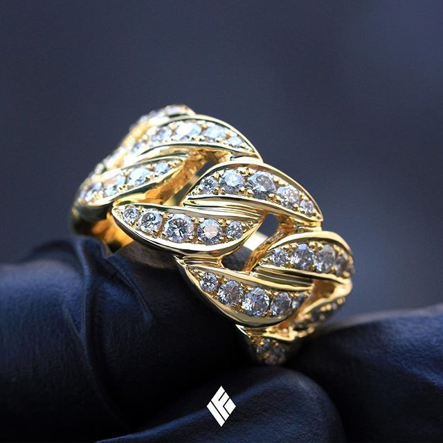 d6c873afccfa1 Solid 14K Yellow Gold Cuban Link Eternity Ring Fully Iced Out ...