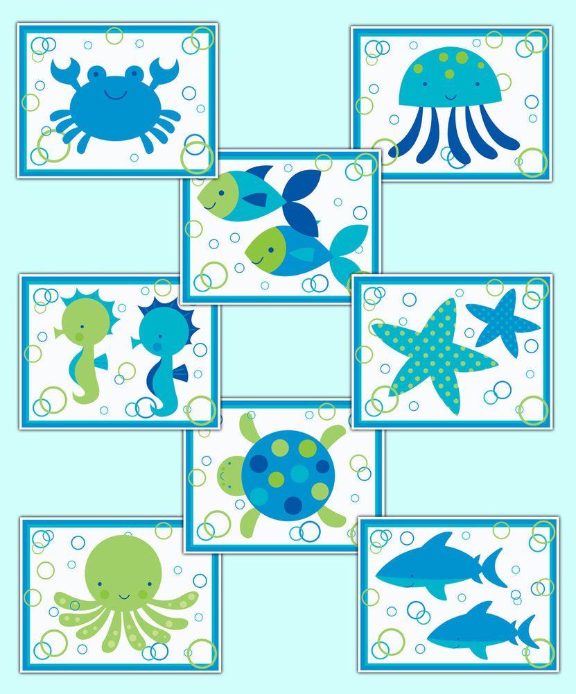 Sea Life Ocean Animal Creatures Wall Art Prints Baby Boy Nursery Room Decor