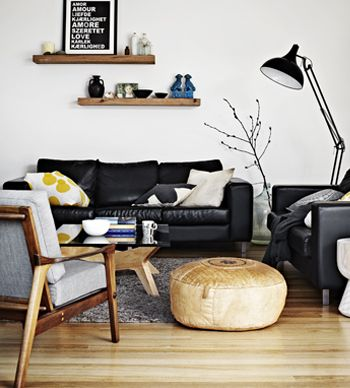 Black leather couch?Melissa Philip has created a beautiful and functional family home with colour and space.