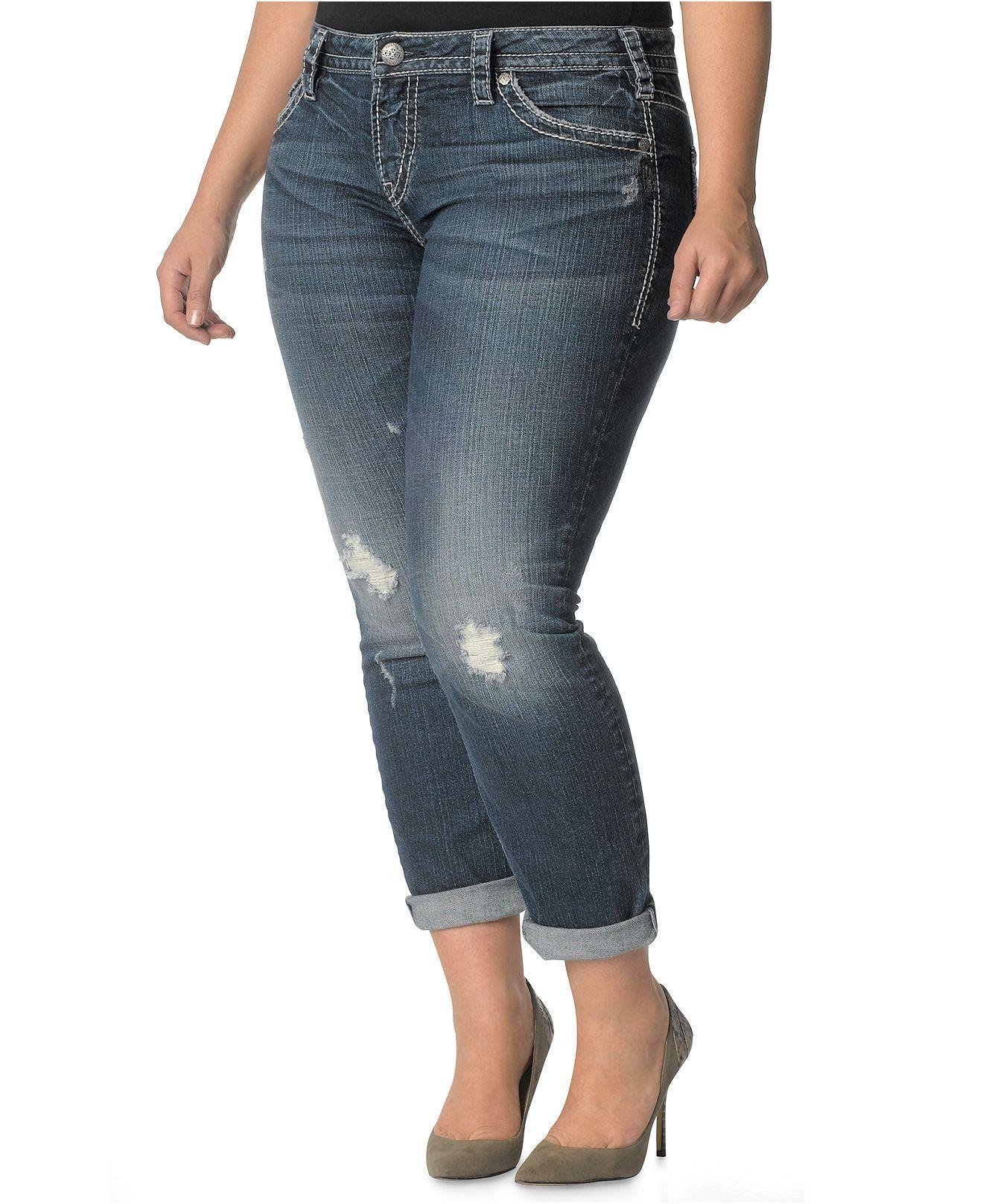 Silver Jeans Plus Size Jeans, Lola Skinny Boyfriend, Indigo Wash ...